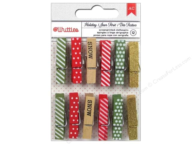 American Crafts Clothespins 12 pc. All Wrapped Up Holiday