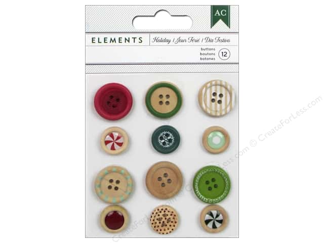 American Crafts Buttons 12 pc. All Wrapped Up Holiday