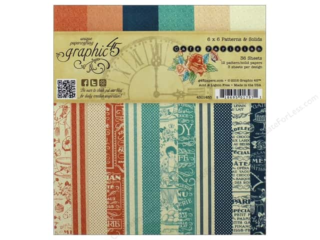 Graphic 45 6 x 6 in. Paper Pad Cafe Parisian Patterns & Solids