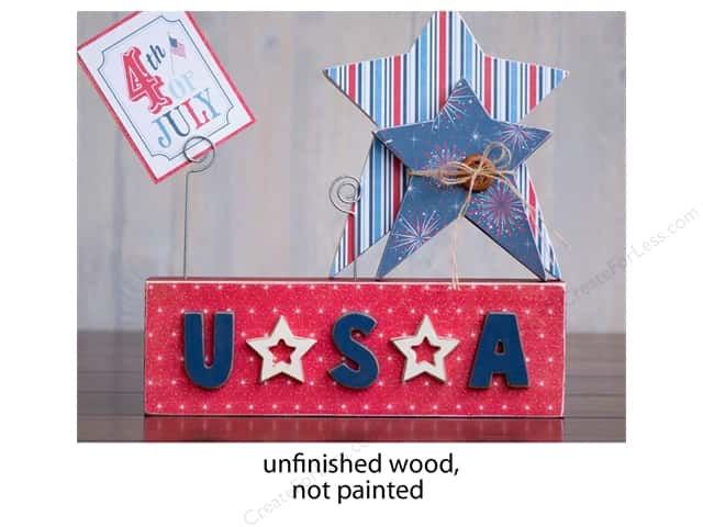 Foundations Decor Wood Shape Block/Wire/Star/USA