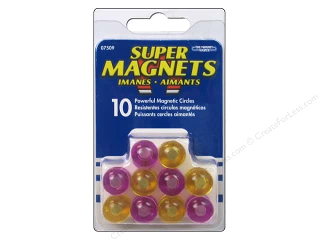 The Magnet Source Magnetic Push Pins 10 pc. Purple & Yellow Circles