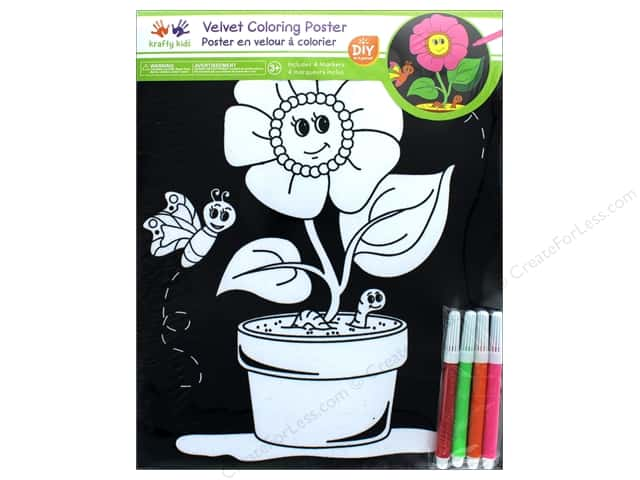 Multicraft Krafty Kids Velvet Coloring Poster Flower Pot