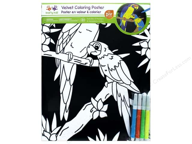 Multicraft Krafty Kids Velvet Coloring Poster Parrot