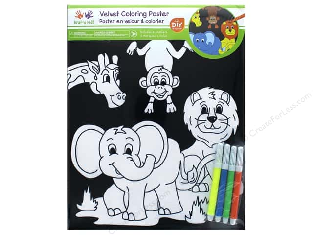 Multicraft Krafty Kids Velvet Coloring Poster Zoo Pals