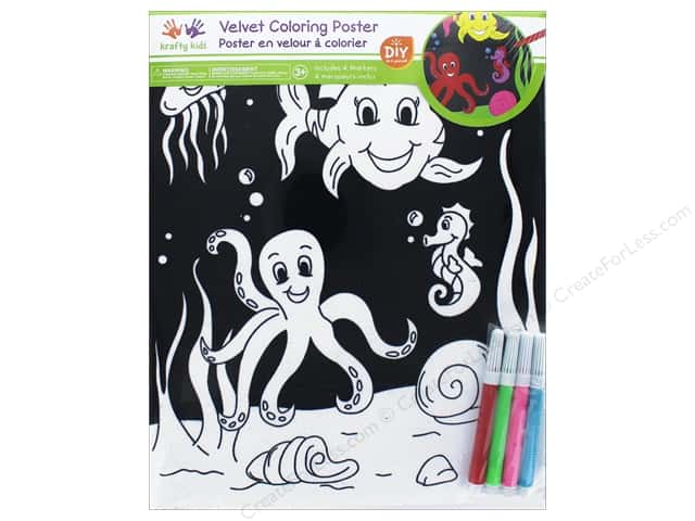 Multicraft Krafty Kids Velvet Coloring Poster Under The Sea