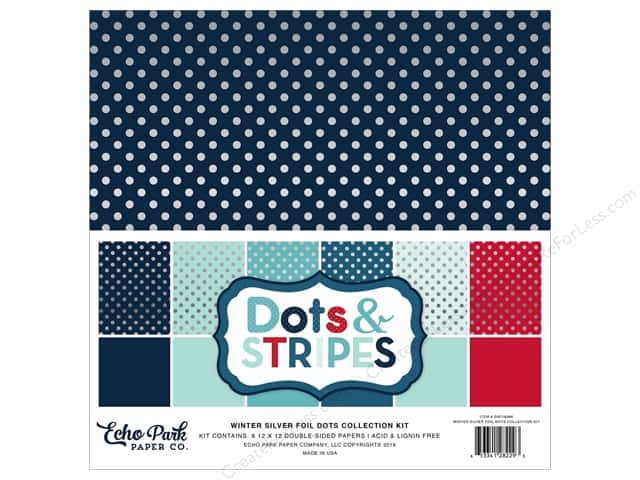 Echo Park 12 x 12 in. Collection Kit Dots & Stripes Winter Silver Foil