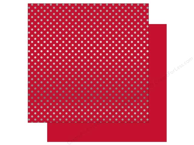 Echo Park 12 x 12 in. Paper Dots & Stripes Winter Silver Foil Cranberry (25 sheets)
