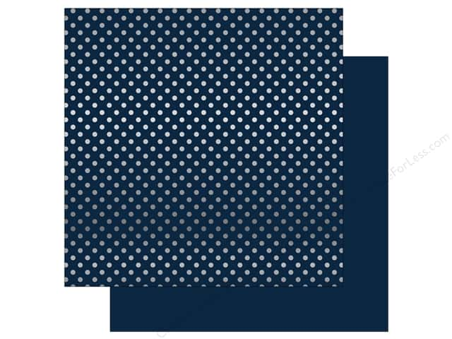 Echo Park 12 x 12 in. Paper Dots & Stripes Winter Silver Foil Dark Blue (25 sheets)