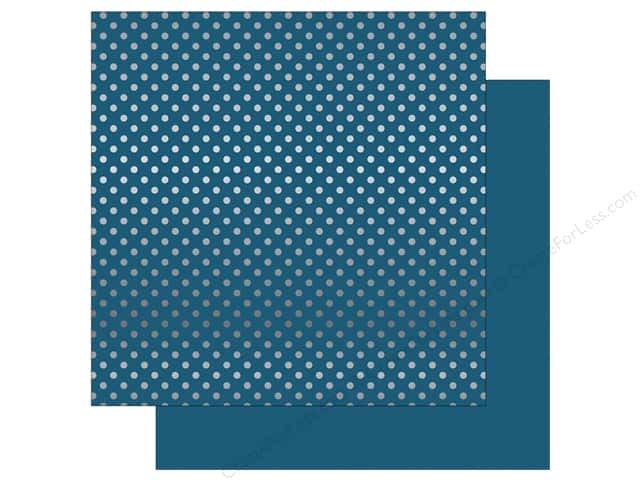 Echo Park 12 x 12 in. Paper Dots & Stripes Winter Silver Foil Medium Blue (25 sheets)