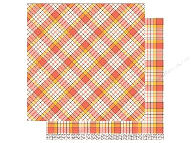 """Lawn Fawn Collection Perfectly Plaid Paper 12""""x 12"""" Candy Corn (12 sheets)"""