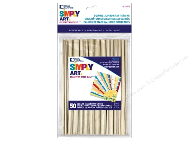 "Loew Cornell Simply Art Craft Stick 1""x 6"" Square End 50pc"