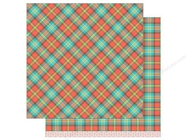 """Lawn Fawn Collection Perfectly Plaid Paper 12""""x 12"""" Apple Cobbler (12 sheets)"""