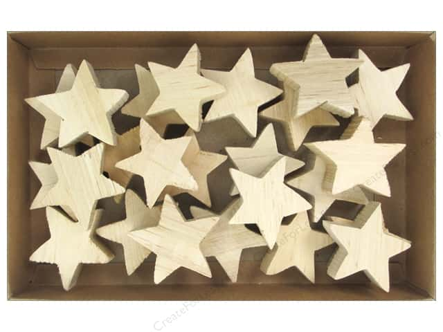 Sierra Pacific Crafts Wood Stars in Box Natural 24pc