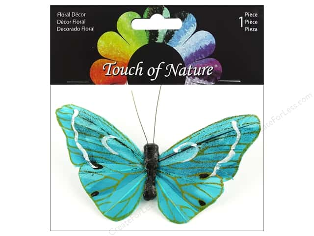 "Midwest Design Butterfly 4"" Feather With Clip Teal/Gold"