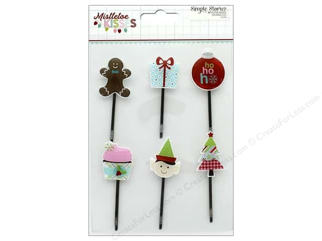 Simple Stories Collection Mistletoe Kisses Decorative Clips (3 sets)