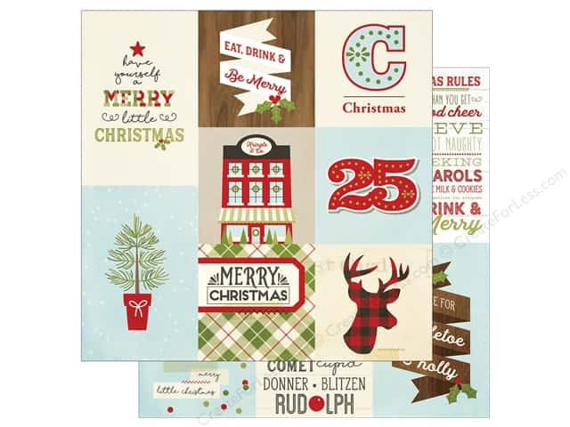 """Simple Stories Collection Classic Christmas Paper 12""""x 12"""" Vertical Elements 4""""x 4""""/4""""x 6"""" (25 pieces)"""