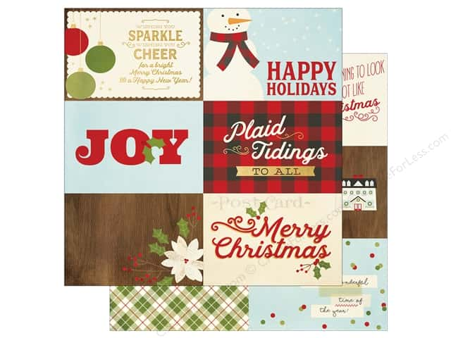 "Simple Stories Collection Classic Christmas Paper 12""x 12"" Horizontal Journaling Elements 4""x 6"" (25 pieces)"