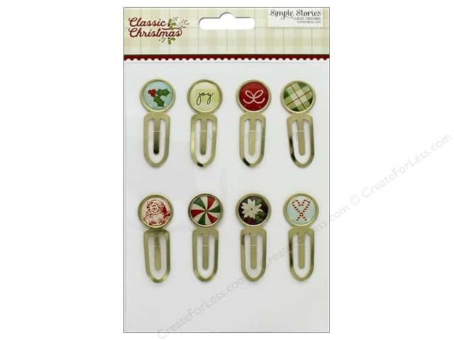 Simple Stories Collection Classic Christmas Epoxy Metal Clips (3 sets)