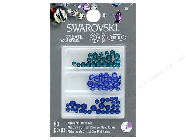 Cousin Swarovski Flatback Rhinestone Mix 80 pc. Sea Blues