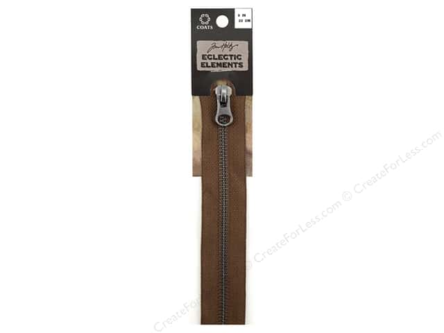 Coats Tim Holtz Eclectic Elements Gunmetal Closed Bottom Zipper 9 in. Seal Brown