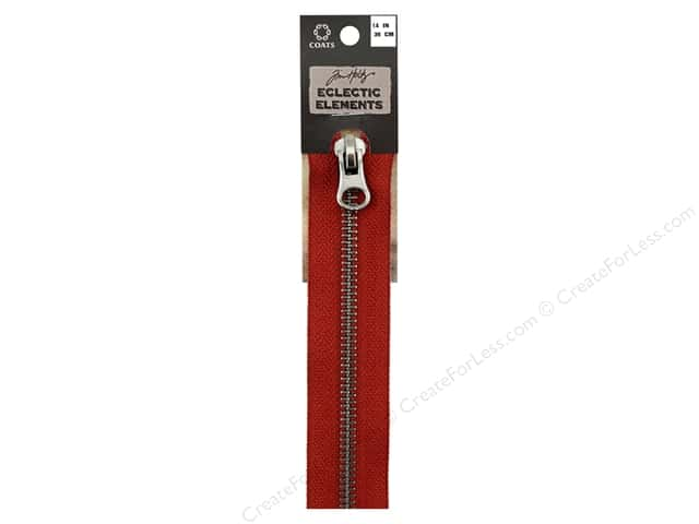 Coats Tim Holtz Eclectic Elements Gunmetal Closed Bottom Zipper 14 in. Red