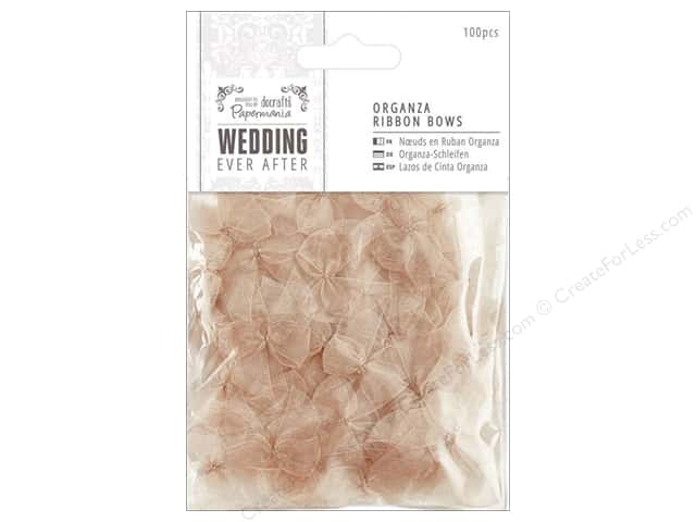 Docrafts Papermania Wedding Ribbon Bow Organza Antique Gold