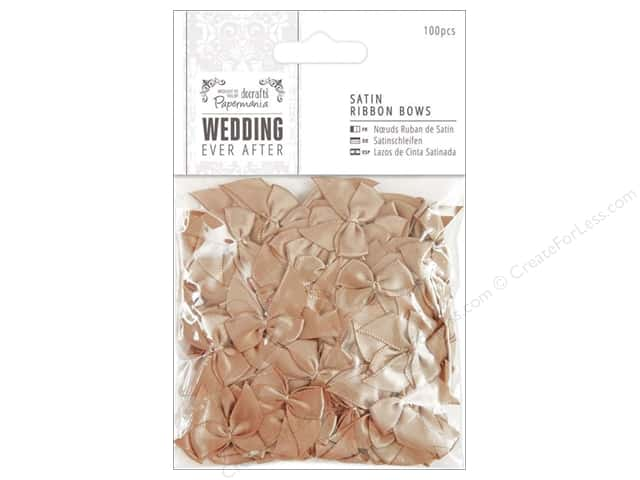 Docrafts Papermania Wedding Ribbon Bow Satin Antique Gold