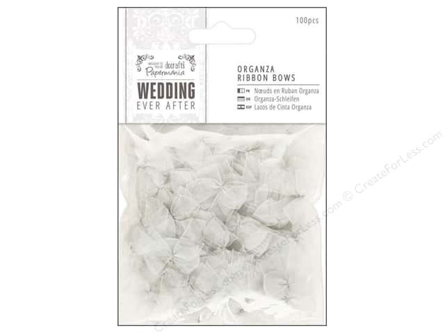 Docrafts Papermania Wedding Ribbon Bow Organza Silver