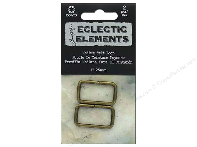 "Coats & Clark Tim Holtz Eclectic Elements Belt Loop 1"" Antique Brass 2pc"