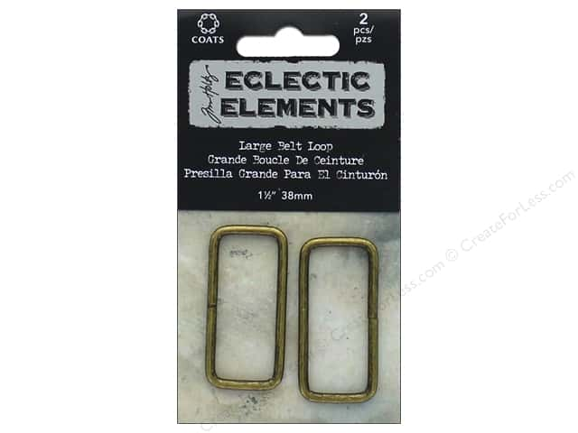"Coats & Clark Tim Holtz Eclectic Elements Belt Loop 1.5"" Antique Brass 2pc"