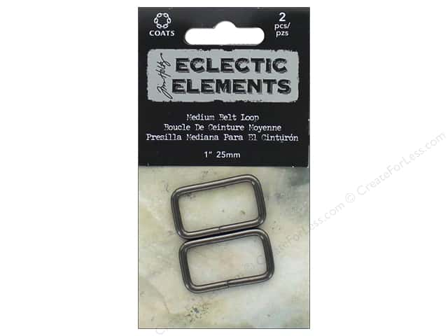 "Coats & Clark Tim Holtz Eclectic Elements Belt Loop 1"" Gunmetal 2pc"