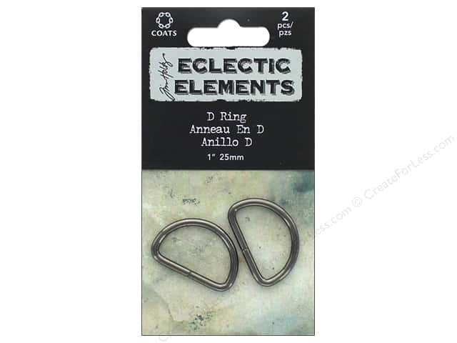 Coats Tim Holtz Eclectic Elements D Ring 1 in. Gunmetal 2 pc.