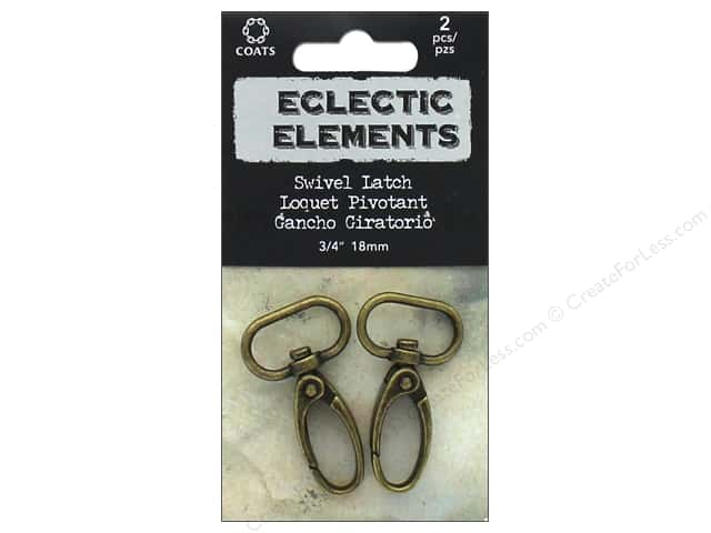 "Coats & Clark Tim Holtz Eclectic Elements Swivel Latch #2 .7"" Antique Brass 2pc"