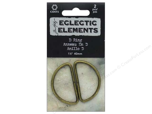 Coats Tim Holtz Eclectic Elements D Ring 1 1/2 in. Antique Brass 2 pc.