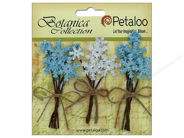 Petaloo Botanica Collection Holiday Pick Glitter Snowflake Blue/White