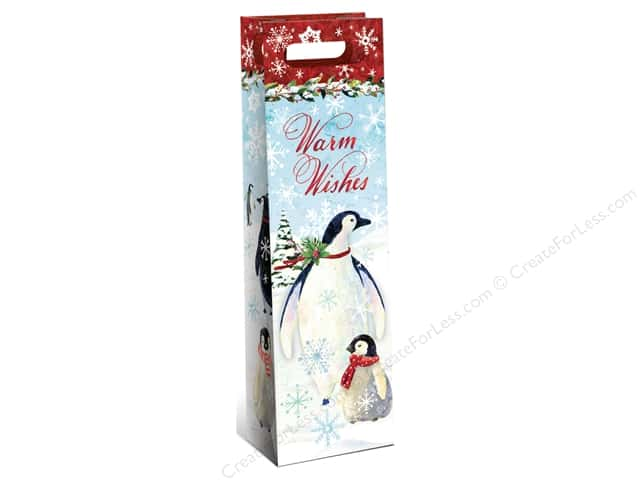Punch Studio Gift Bag Snowy Penguins Wine Bag