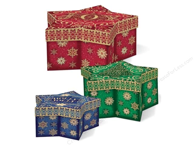 Punch Studio Box Star Box Sparkle & Shine Set Of 3