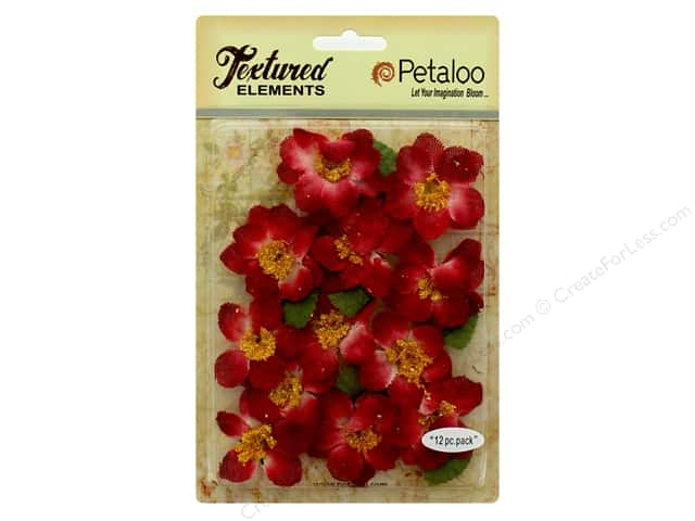 Petaloo Textured Elements Briar Rose Canvas Red