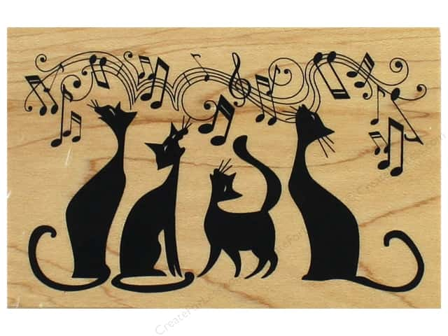Inkadinkado Wood Stamp Cats In Tune