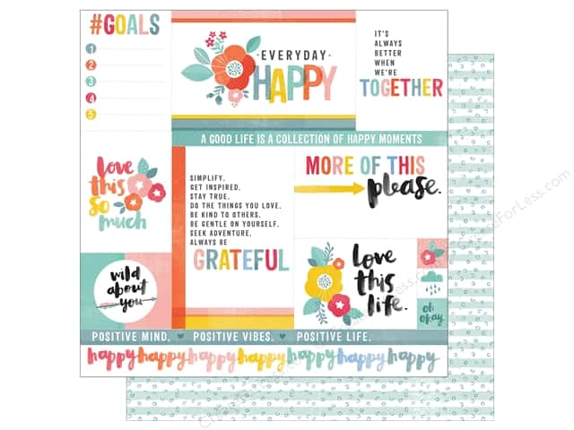 American Crafts 12 x 12 in. Paper Oh Happy Life Everyday Happy (25 sheets)