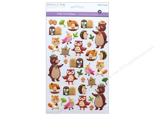 Multicraft Sticker Foil Puffy Woodland Friends