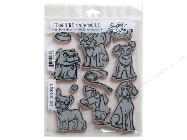 Tim Holtz Cling Mount Stamp Set 10 pc. Crazy Dogs