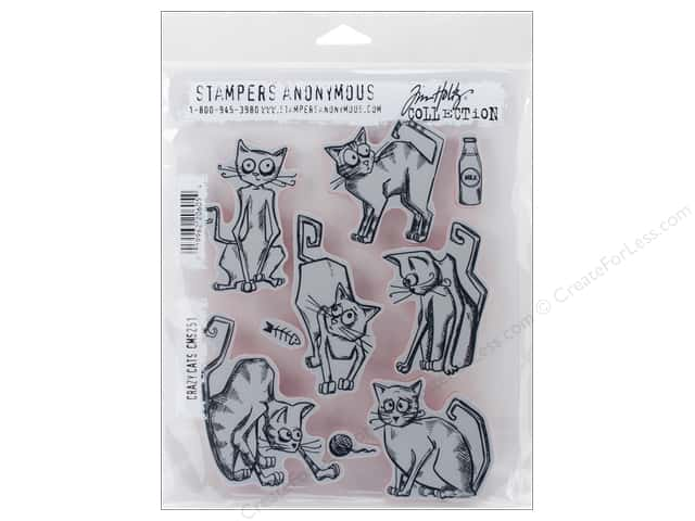 Stampers Anonymous Cling Mount Stamp Tim Holtz Crazy Cats
