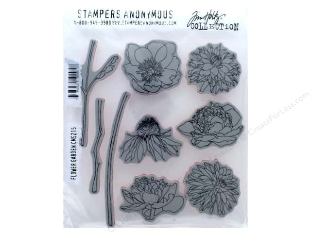 Stampers Anonymous Tim Holtz Cling Mount Stamp Set - Flower Garden