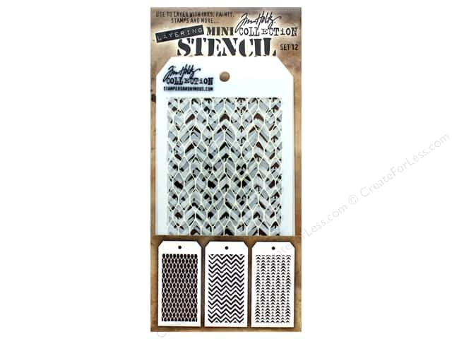 Stampers Anonymous Tim Holtz Layering Mini Stencil Set #12