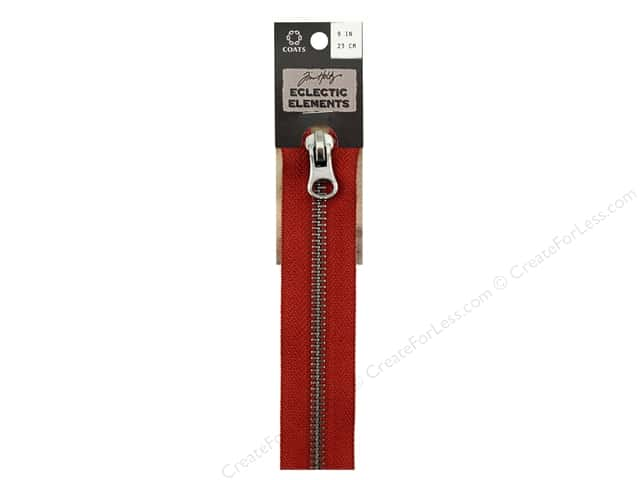 Coats Tim Holtz Eclectic Elements Gunmetal Closed Bottom Zipper 9 in. Red