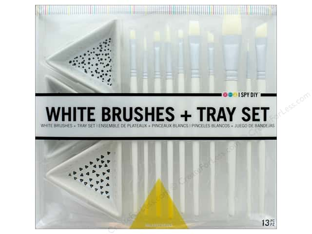 Darice I Spy DIY White Brushes & Tray Set
