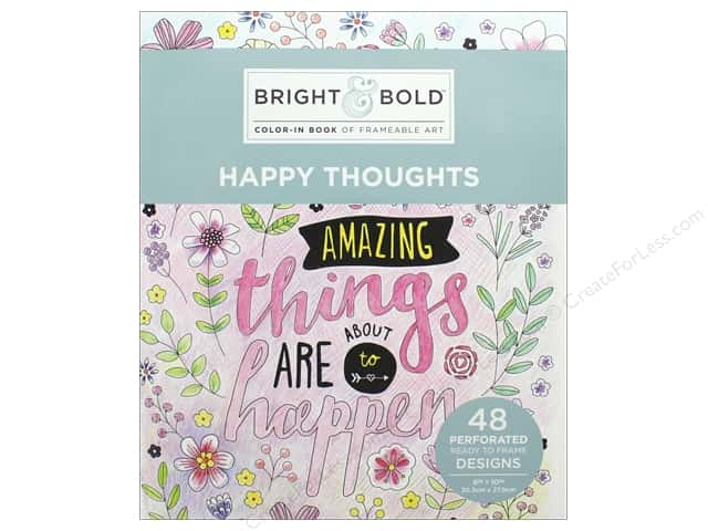 Darice Bright & Bold Color-In Book of Frameable Art: Happy Thoughts