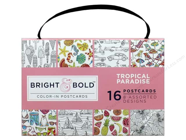 Darice Bright & Bold Color-In Postcards - Tropical Paradise