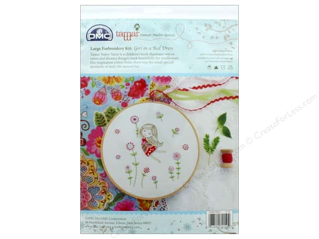 DMC Embroidery Kit Large Girl In Red Dress